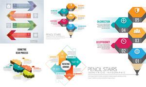 箭头铅笔等元素流程图设计矢量素材