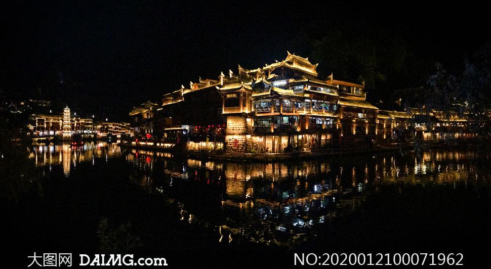 凤凰古城美丽夜景摄影图片素材