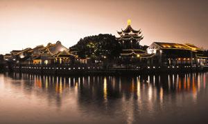 江南水乡美丽的夜景灯光摄影图片