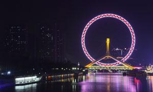 天津之眼美丽夜景摄影图片