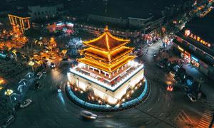 陕西钟楼美丽夜景摄影图片