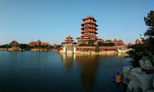 蓬莱三仙山全景图摄影图片