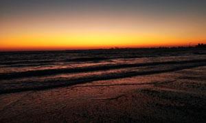 海邊美麗的日出景觀攝影圖片