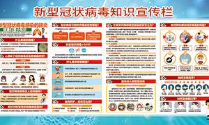 新型冠状病毒知识宣传栏设计PSD素材