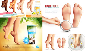 足部护理产品广告设计主题矢量素材