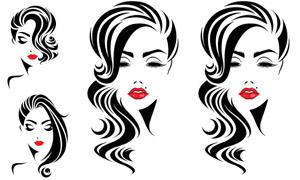 卷發造型紅唇美女人物創意矢量素材