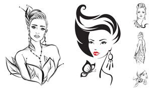 時尚造型黑白線描風格人物矢量素材