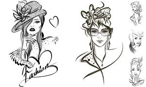 黑白素描效果時尚美女模特矢量素材