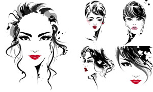 黑白筆觸線條美女人物創意矢量素材