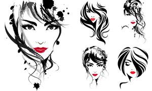 黑白潑墨元素紅唇美女人物矢量素材