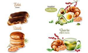 煎蛋与绿茶羊角面包等早餐矢量素材