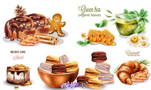 蜂蜜绿茶与蛋糕等早餐主题矢量素材