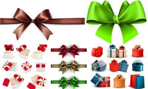 质感礼物盒与蝴蝶结等元素矢量素材