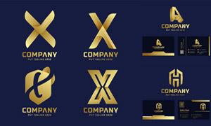 金色字母演绎标志创意设计矢量素材