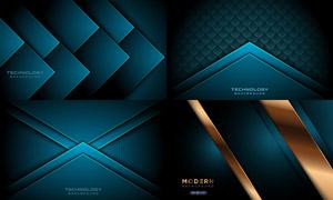 深藍色的幾何抽象元素背景矢量素材