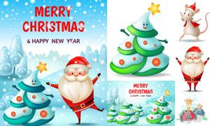 小老鼠与圣诞老人等卡通创意矢量图