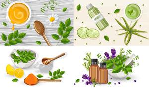 蜂蜜與蘆薈等護膚精華產品矢量素材
