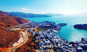 云南洱海湖边城镇航拍图摄影图片
