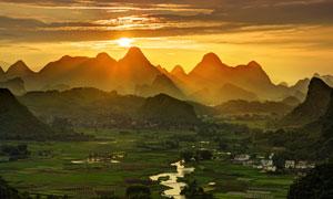 黃昏下的桂林美景高清攝影圖片
