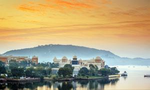 傍晚美麗的印度白城高清攝影圖片