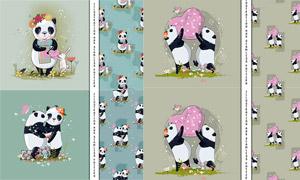 可愛的大熊貓圖案無縫背景矢量素材