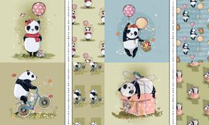 花草元素點綴的大熊貓圖案矢量素材