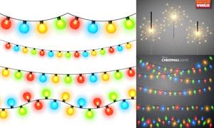 節日慶典適用彩燈火花元素矢量素材