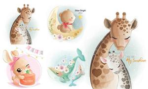 小熊兔子與長頸鹿鯨魚插畫矢量素材