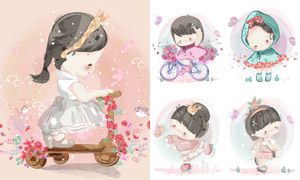 鮮花與可愛小女孩人物插畫矢量素材