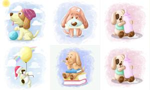俏皮打扮的小狗擬人化插畫矢量素材