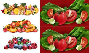 藍莓與青菜等水果蔬菜主題矢量素材