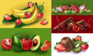 香蕉與草莓等質感水果主題矢量素材