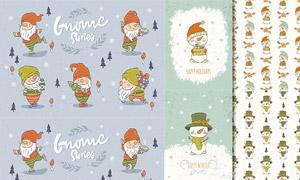 圣誕老人與雪人圖案等主題矢量素材