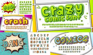 卡通漫畫風格英文字體設計矢量素材