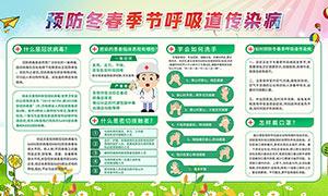 预防春季呼吸道传染病宣传展板PSD素