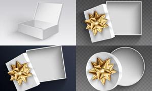白色圆形与方形礼物盒包装矢量素材