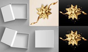 金色丝带装饰与礼物盒设计矢量素材