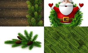 质感树枝与圣诞老人等设计矢量素材