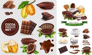 巧克力与可可豆等产品主题矢量素材