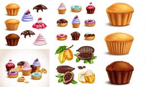 甜甜圈蛋糕等甜品美食主题矢量素材