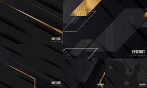 黑色与金色配色的几何背景矢量素材