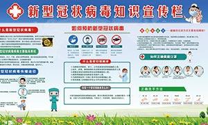新型冠状病毒知识社区宣传栏PSD素材