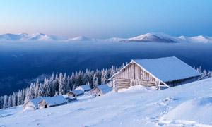 树林房子与远处的山峦摄影高清图片