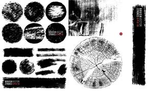 黑白笔触与年轮等纹理背景矢量素材