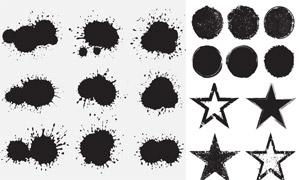 墨迹喷溅元素与五角星主题矢量素材