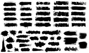 黑白泼墨笔触蒙版设计元素矢量素材