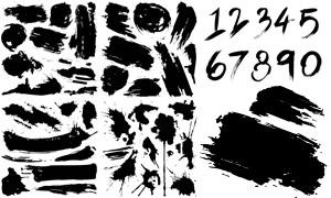 黑白潇洒泼墨笔触元素主题矢量素材
