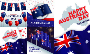 澳大利亚元素的国旗与气球矢量素材