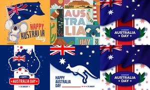 澳大利亚国旗与袋鼠剪影等矢量素材