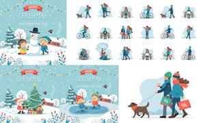 骑车遛狗等人物与房子雪景矢量素材